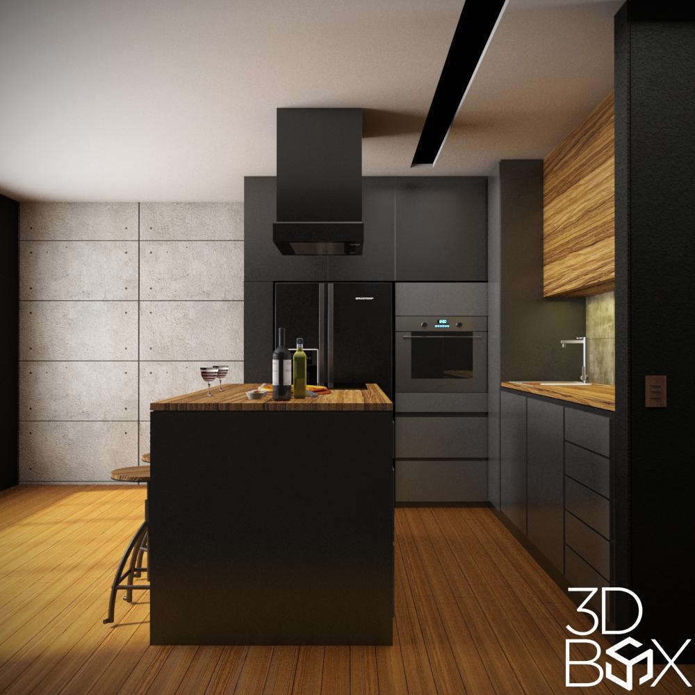 cozinha01 - V-Ray e Photoshop Para Pós-Produção